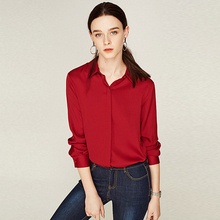 100% Silk Blouse Women Red Shirt Plus Size Simple Design Long Sleeves Office Work Top Graceful Style New Fashion 2019