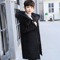 30 Dgree Children Duck Down Jacket Boy clothes Winter Kids Warm Thick parka real Fur Collar Hooded long Coats For Teenage 7 14Y