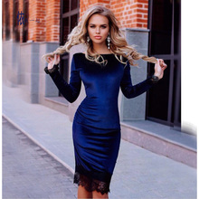 Lace Elegant  Women Velvet Dresses Ladies long Sleeve Casual gold Velour Pencil Dress