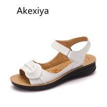 Akexiya Big Size 35 41 Summer Women Genuine Leather Sandals Vintage Ladies Flat Sandials Ankle Strap