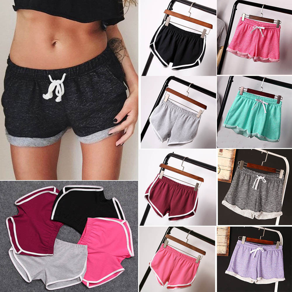 Women Cotton Blend Summer Shorts Pants 4 Colors Contrast Binding Side Split Elastic Waist Patchwork Casual Short Pant
