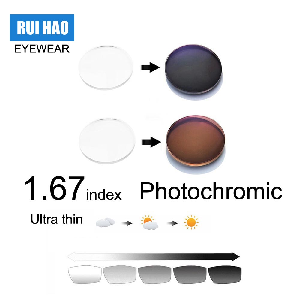 1.67 Index Aspheric Photochromic Lens Grey Brown Optical Glasses Myopia Presbyopia Reading Eyeglasses Transition Resin Lenses classy alloy framed presbyopia reading glasses with protective case 2 50
