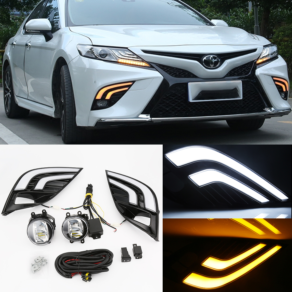 2pcs Car LED White Daytime Running Lights +Yellow Turn Signal Drive Lamp For Toyota Camry 2018 Fog Lamp DRL Car Styling car styling 2x car light 8led drl fog driving daylight daytime running led for bmw for audi white head lamp 2pcs per set