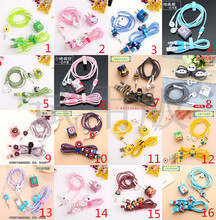 100 sets Cartoon USB Cable Earphone Protector Set With Winder Stickers Spiral Cord For iphone 5 6 6s 7plus 8