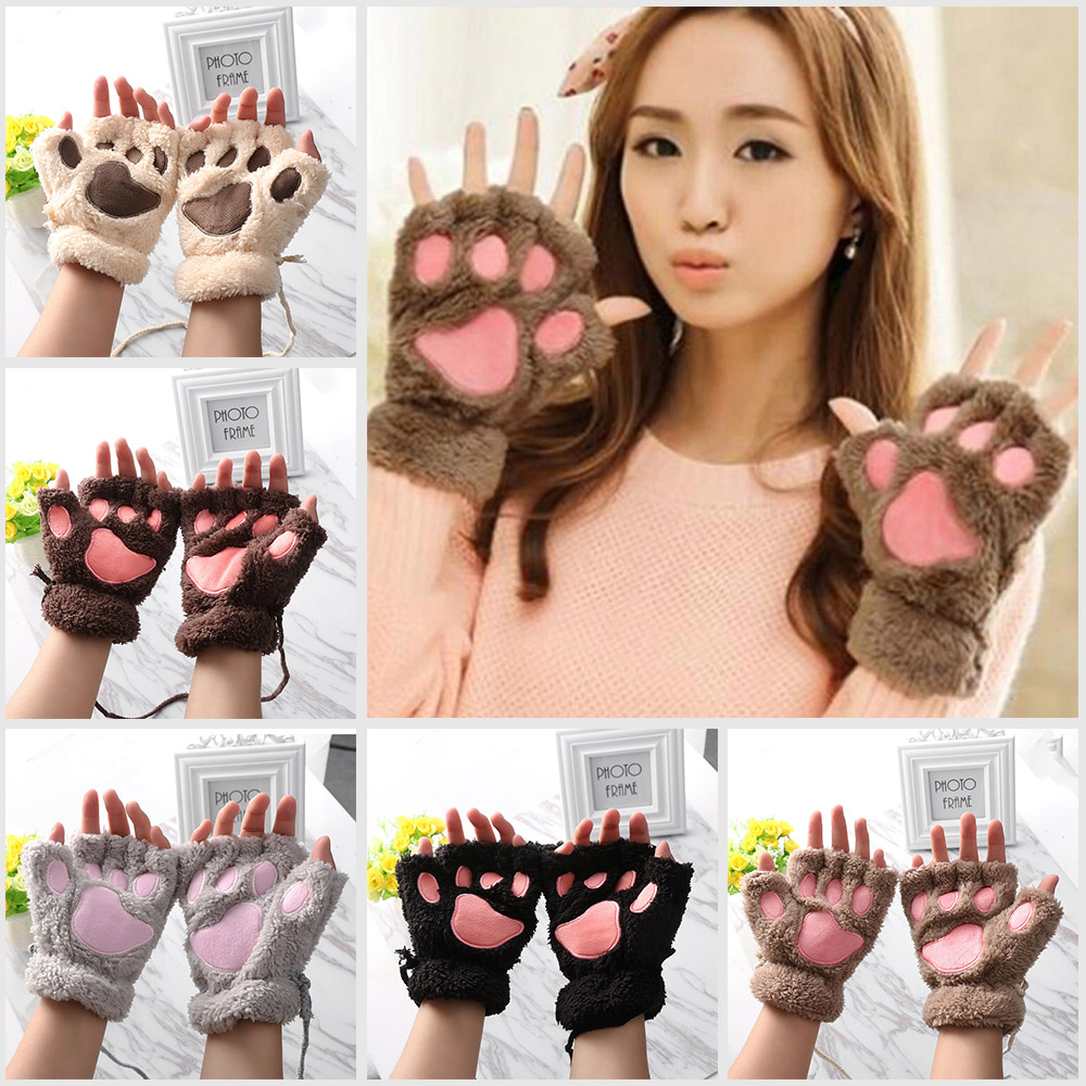 1 Pair Hoot Kawaii Winter Gloves For Women Lady Girls Warm Paw Gloves Cute Fingerless Fluffy Bear Cat Plush Paw Cosplay Mittens