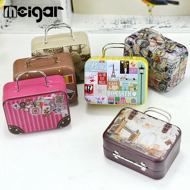 Money Box Tin Retro Suitcase Storage Container 1pc Continental Mini Handbag Candy Rectangular Small For