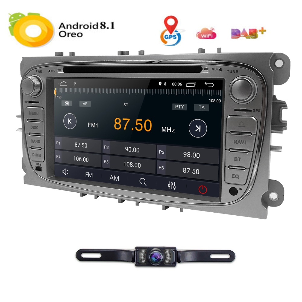 7 Android 8.1 Car DVD Player Radio for Ford Mondeo Focus S Max C MAX Galaxy Kuga Transit Connect Quad Core Bluetooth DAB OBD2