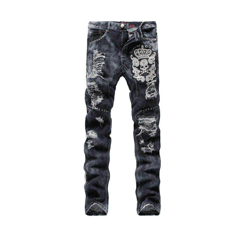 Punk style Slim Fit Distressed casual Jeans men personalized skull embroidery holes denim pencil pants  ZY021 fashion europe style printed jeans men denim jeans slim black painted pencil pants long trousers tight fit casual pattern pants