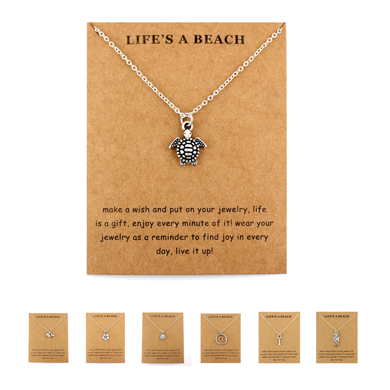 Life is a Beach Jewelry Seahorse Sand Dollar Octopus Starfish Seashells Whale Wave Mermaids Sea Turtles Necklaces for Women(China)