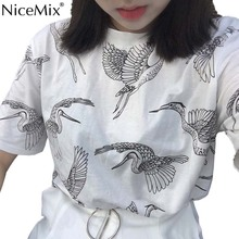 NiceMix Summer Kawaii T Shirt Women Tops Harajuku T-shirts Printed Cranes Loose Plus Size Tee Vetement Femme 2019