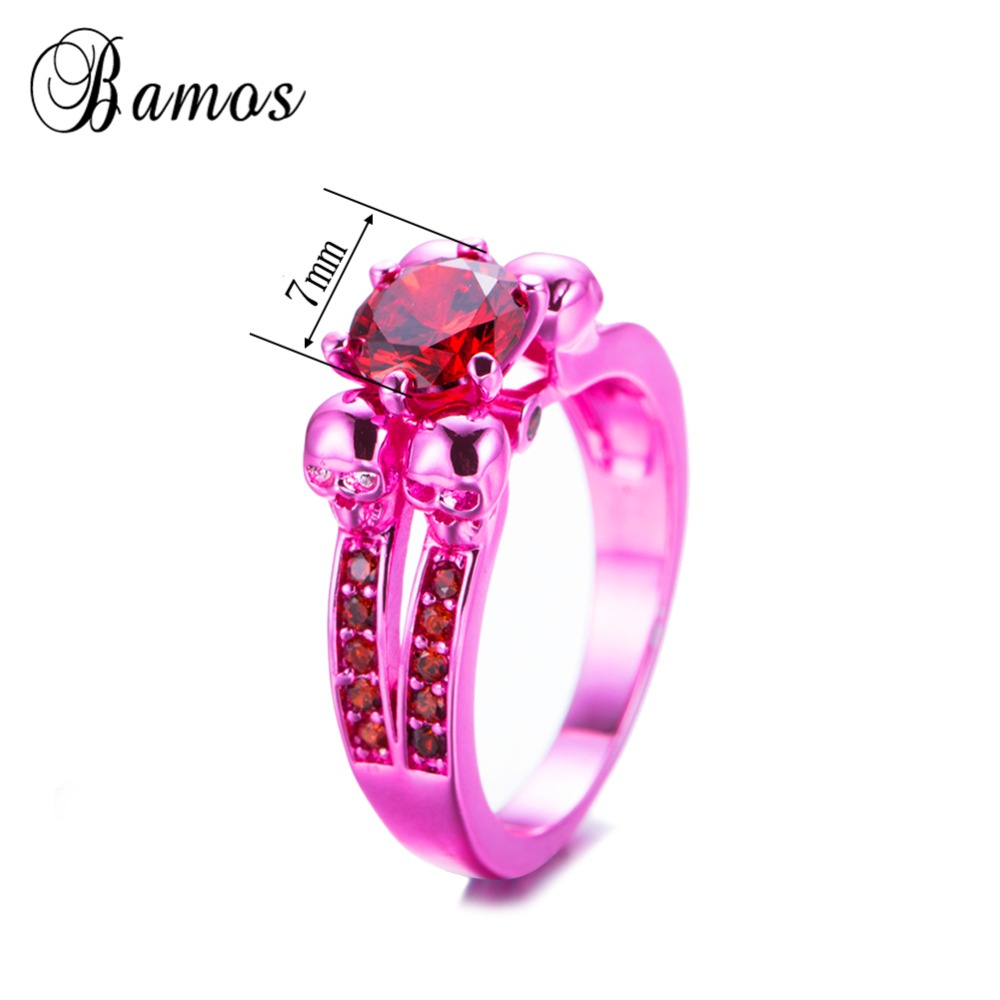 Bamos Retro & Punk Pink Gold Filled Skull Ring July Birthstone Cubic ...