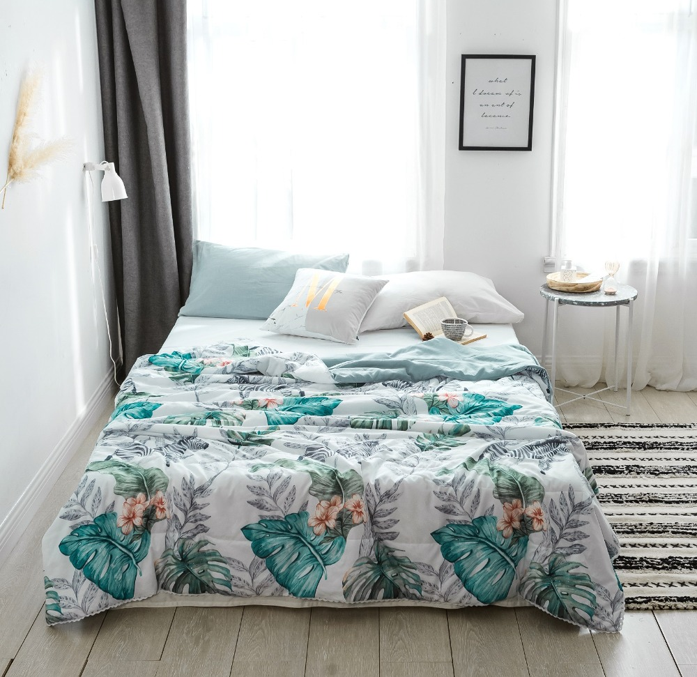 Northern Europe Summer Quilt leaves Bedspread Blanket white Comforter soft Bed Cover Twin full Queen Quilting flowers beddingNorthern Europe Summer Quilt leaves Bedspread Blanket white Comforter soft Bed Cover Twin full Queen Quilting flowers bedding