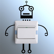 Lovely Robot Decorative Switch Wall Stickers Home DIY Decorations Living Room Decor Wall Bedroom Black Vinyl Mural Art Decals(China)