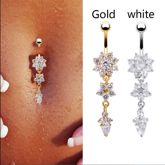 Star Flower Piercings Jewelry Womens Y Belly On Ring Long Dangle Clear Navel Bar Gold