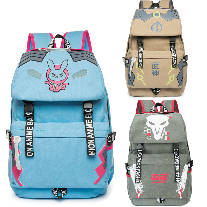 LotusCartoon Store Anime Game Overwatch OW  Knapsack backpack sports backpack D.va dva Soldier 76 Genji Reaper