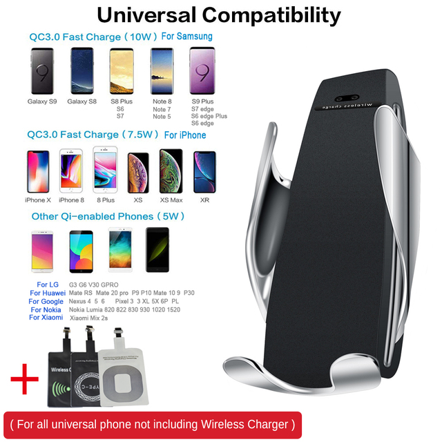 10W Wireless Car Charger S5 Automatic Clamping Fast Charging Phone Holder Mount in Car for iPhone xr Huawei Samsung Smart Phone 5