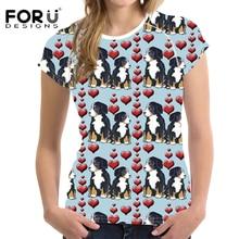 FORUDESIGNS Funny Bernese Mountain Dog Printing Women T Shirt Ladies Cartoon Pet Dog Pattern T-shirt for Teen Girls Kawaii Tops цена и фото