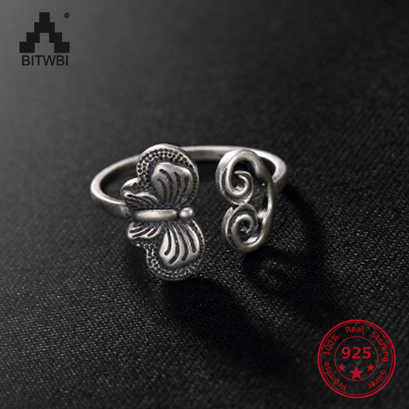 925 Sterling Silver Retro Matte Ring For Women Classical Thai Silver Exquisite Butterfly Opening Ring Best Jewelry Gift