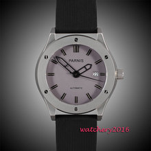 44mm parnis White dial date adjust black rubber strap movement automatic men's watch