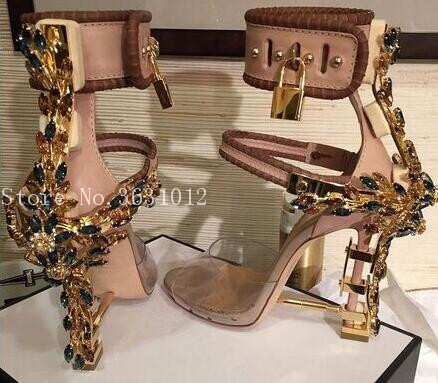 2018 Hot Fashion Summer Women Sandals Mixed Colors Crystals Cover Heel Metal High Heel Party Shoes Ankle Strap Buckle Lock sweet fur ball decorated solid women sandals fashion ankle strap women pumps elegant high heel party shoes 3 colors available