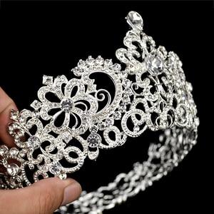 Image 4 - 新ヴィンテージシルバー色ラウンド大クラウンティアラ結婚式のヘアアクセサリーヘッドビッグクラウンかぶと髪の宝石の装飾品