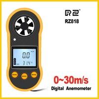 Rz anemômetro portátil anemometro medidor de velocidade do vento medidor lcd digital ferramenta de medida à mão rz818/gm816|Instrumentos de medição de velocidade| |  -
