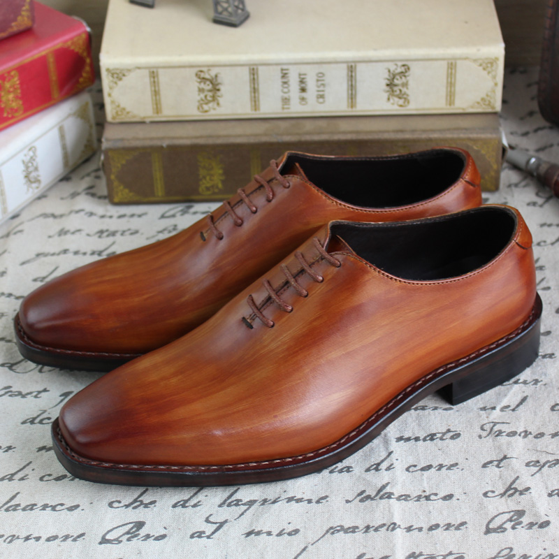 SKP186 Goodyear Welt CowLeather Men's oxford Shoes Handmade Brogue Shoes Hand Painted Colors Brown/White- Large Size accept OEM