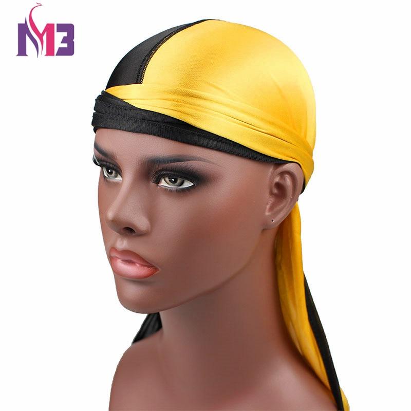 New Fashion Men's Silk Patchwork Durags Double Colors Soft Satin Durag Bandanas Turban Headwear Headband Hat Hair Accessories