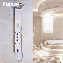 European Luxury SUS Nickel Brushed Wall Mounted Bathroom Rain Waterfall Shower Panel With Hand Sprayer Thermostatic Shower Set brushed nickel waterfall bath shower tub faucet one handle with hand shower brushed nickel finished