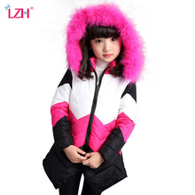 LZH 2017 Winter Jacket For Girls Coat Children Outerwear Coat Kids Girls Warm Hooded Cotton-padded Clothes Teenagers Girl Jacket