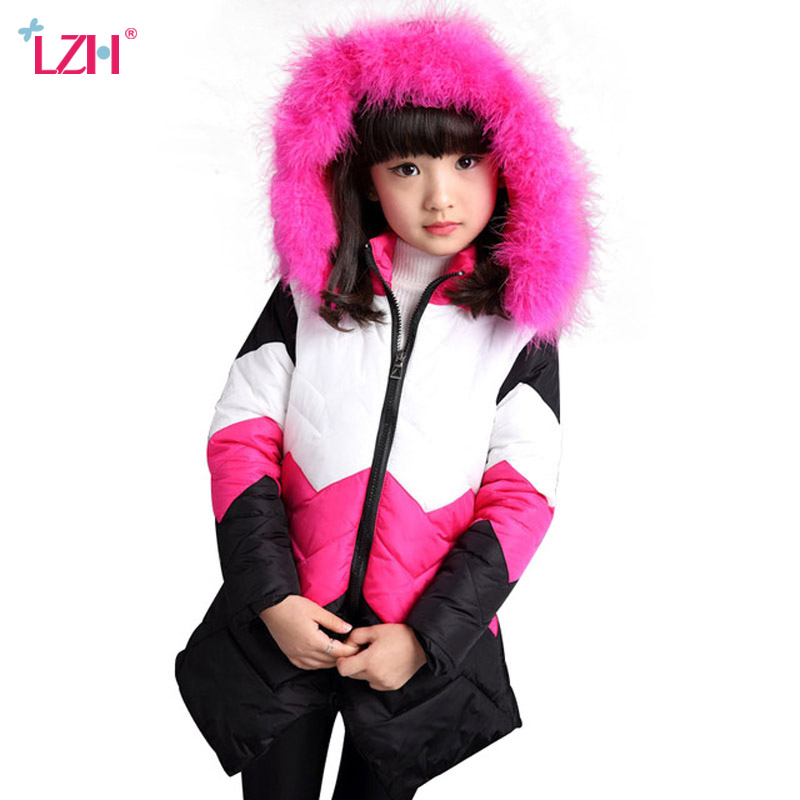 LZH 2018 Winter Jacket For Girls Coat Children Outerwear Coat Kids Girls Warm Hooded Cotton-padded Clothes Teenagers Girl Jacket цена