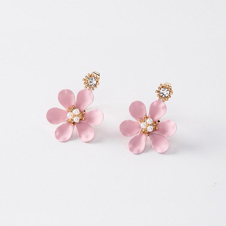 2017 Sweety Elegante Nette Blume Ohrringe Bunte Reine Blütenblatt Simulierte Perlenschmuck Für Mädchen Nach Hängende Ohrringe Geschenke