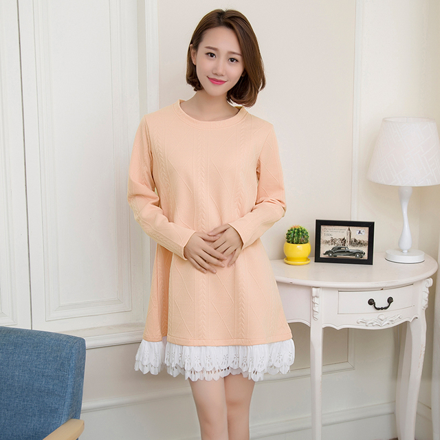 d0e13daf31c75 Spring autumn Pregnant woman clothes Maternity dress Knitted sweater Long  sleeve lace stitching dresses pregnancy wear clothing
