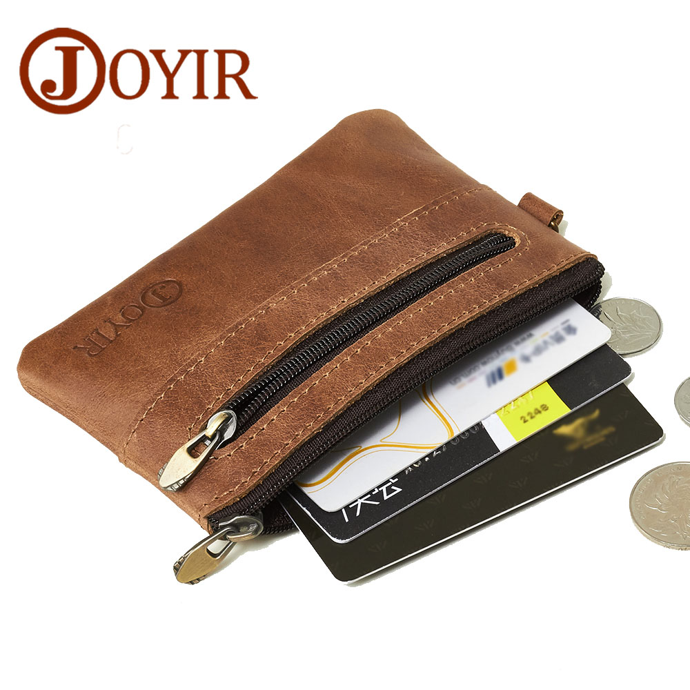 JOYIR Genuine Leather Credit Card Holder Leather Wallet Men Zipper Vintage Small Coin Purse Business Card Holder Case For Cards joyir wallet women men leather genuine vintage coin purse zipper men wallets small perse solid rfid card holder carteira hombre