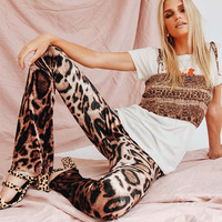 Leopard print long Flared Pants woman 2019 Spring new fashion Highstreet style