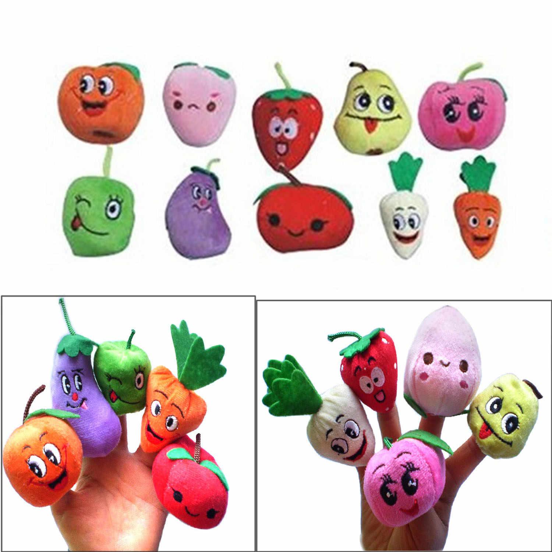 Crianças 10 pcs Frutas Legumes Fantoche de Dedo Pano Macio Bonito Dos Desenhos Animados de Pelúcia Figuras Boneca de Brinquedo Fantoche de Mão de Contar Histórias Adereços Brinquedos