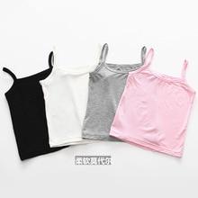 2019 baby girls kids cotton camisole underwear 4 pieces/lot  soft Solid Undershirt Sleeveless Vest for girl