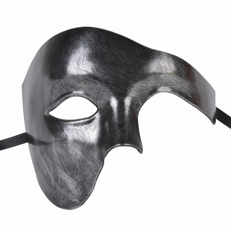 Black Venetian Phantom of The Opera Masquerade Costume Men Half Face Party Mask