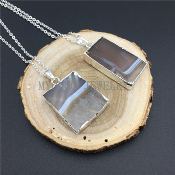 MY0859 Rectangular Tan and White Agates Druzy Pendant with Silver Electroplated Edges And Chain Necklace kolye