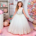 Simple Beautiful <font><b>Flower</b></font> <font><b>Girl</b></font> <font><b>Dress</b></font> with Applique Sash Bow For Party Wedding First Communion Gowns Sleeveless Custom Size Vestido
