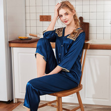 2019 Summer Autumn Sleepwear Satin Silk Women 3/4 Sleeve Pajamas Sets With Pants Sleep