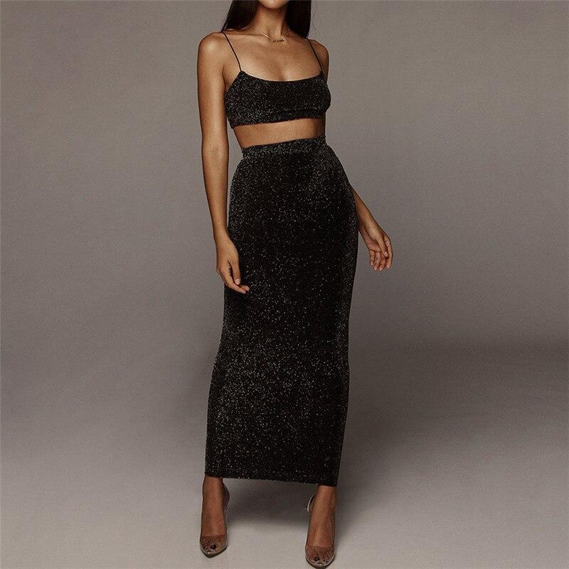 Women Shiny Crop Top Long Skirt Two Piece Set Outfit For Women Tops Skirts 2 Piece Skirt Set Summer Women's Suits S M L