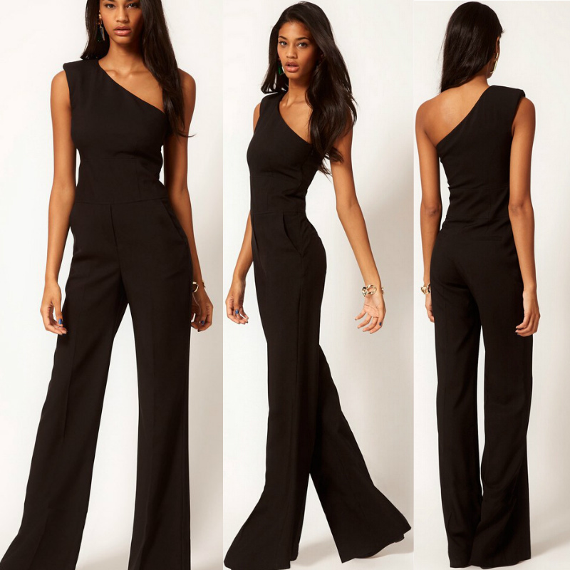 Aliexpress.com : Buy Hot Sale Fashion Black One Shoulder rompers ...