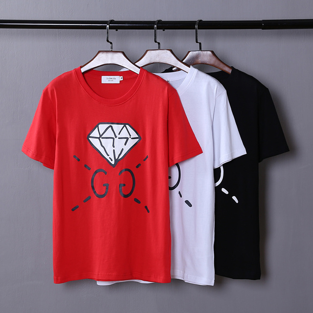 high quality 2017 summer new Europe tide brand lovers tops tees Diamond letters print men / women fashion cotton t-shirt GABYDED