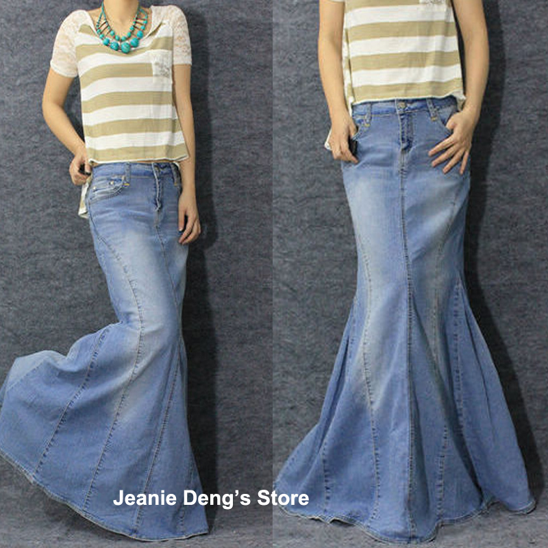 Online Get Cheap Floor Length Denim Skirt -Aliexpress.com ...