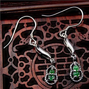 Silver and jadeite jade Earring 925 silver