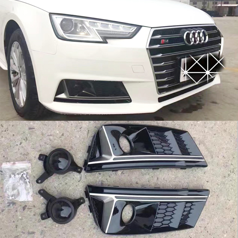 A4 B9 S4 Style Black Front Bumper Fog Lamp Cover Fog Light Trim Grill Grille For