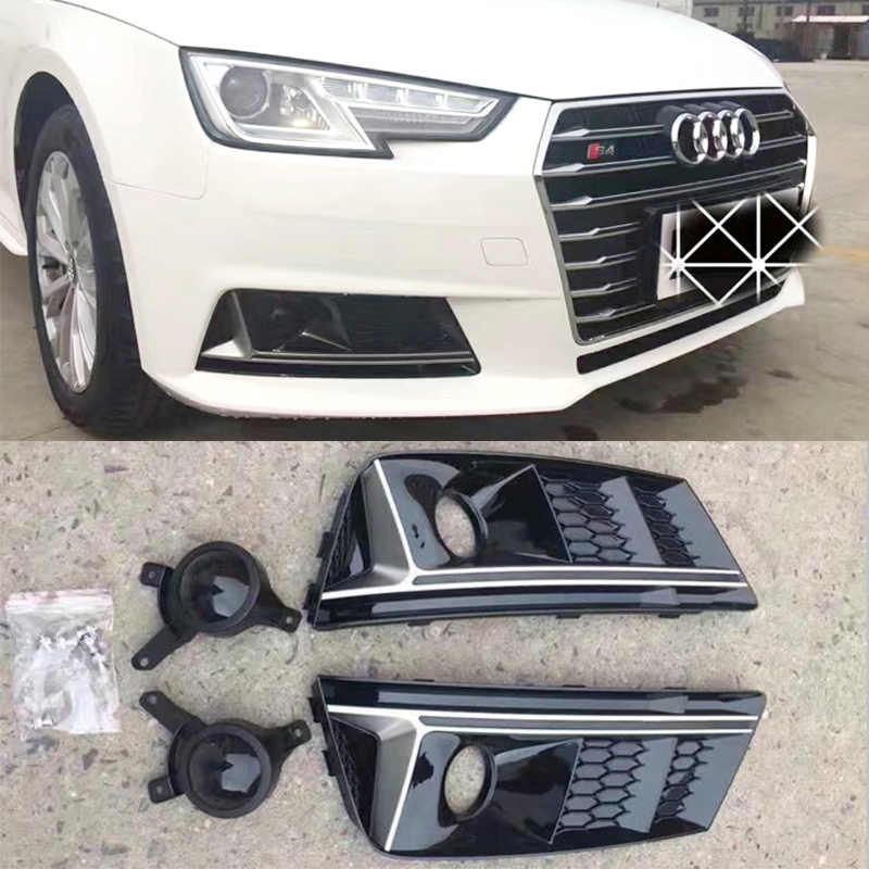 A4 B9 S4 Style Black Front Bumper Fog Lamp Cover Fog Light Trim Grill Grille For Audi A4 b9 Standard Bumper Only 2016UP