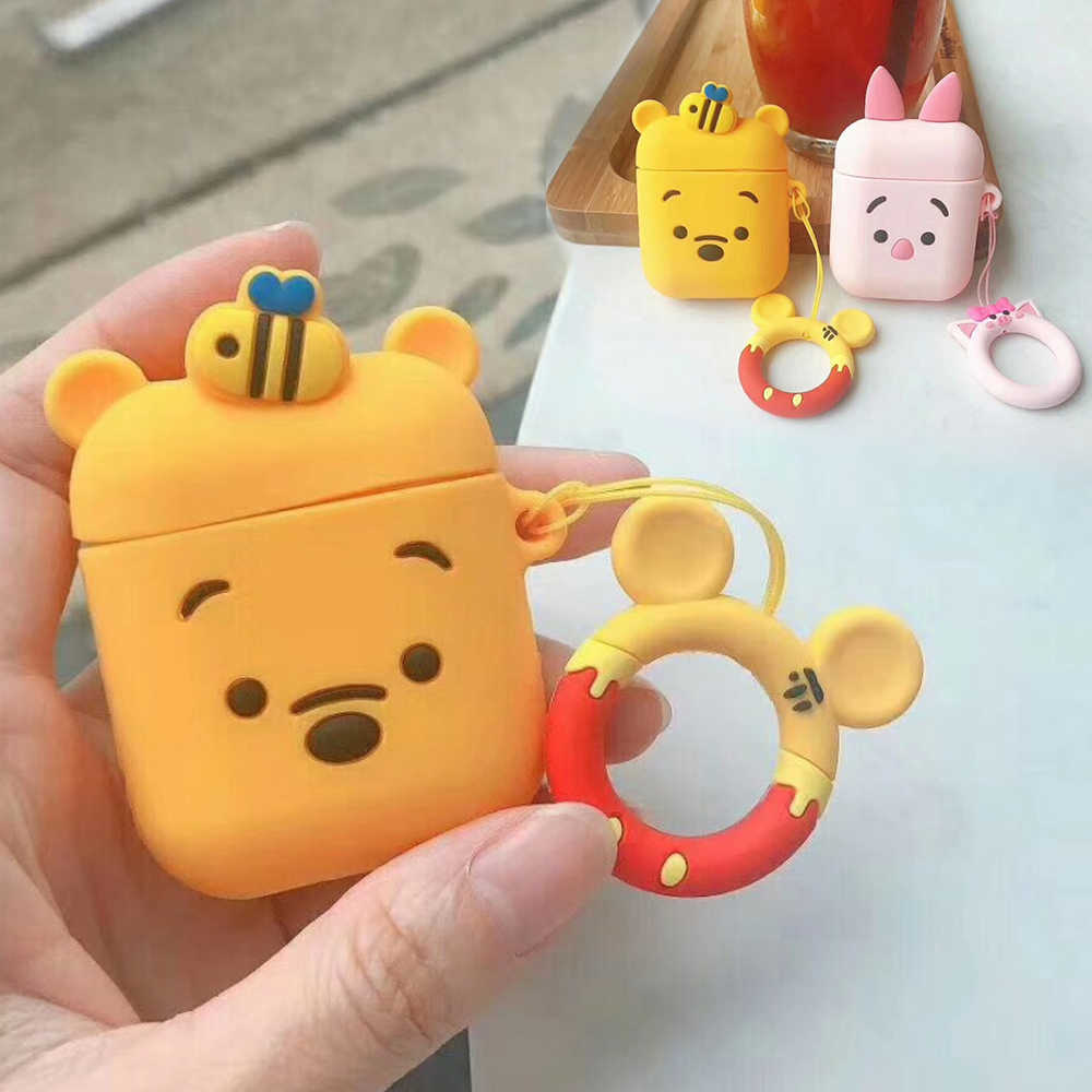 with Finger Ring Strap For AirPods Case Cute Cartoon silicon cover For Air pods Bluetooth Earphone Cases For Airpods Accessories