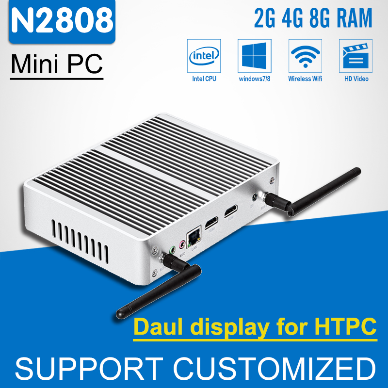 New! 2*HDMI Mini Computer Fanless Mini PC Celeron N2808 HTPC Display Intel Windows 10 Linux 300M Wifi Desktop Computer kingdel new arrival intel i3 7100u fanless mini pc windows 10 linux desktop computer 4k htpc hdmi vga max 16g ram no noise